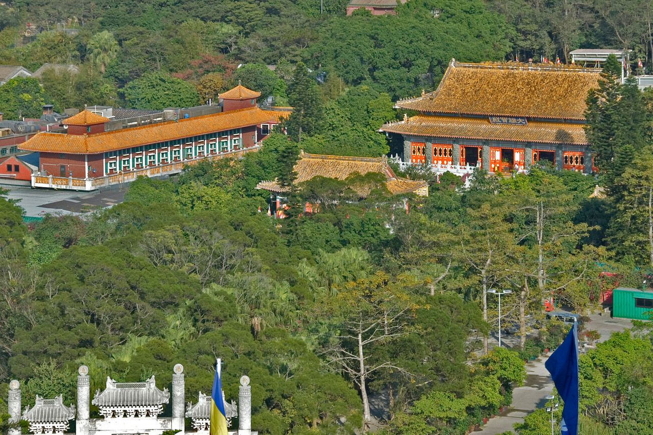 Overhead view of the Po Lin Temple complex in Hong Kong