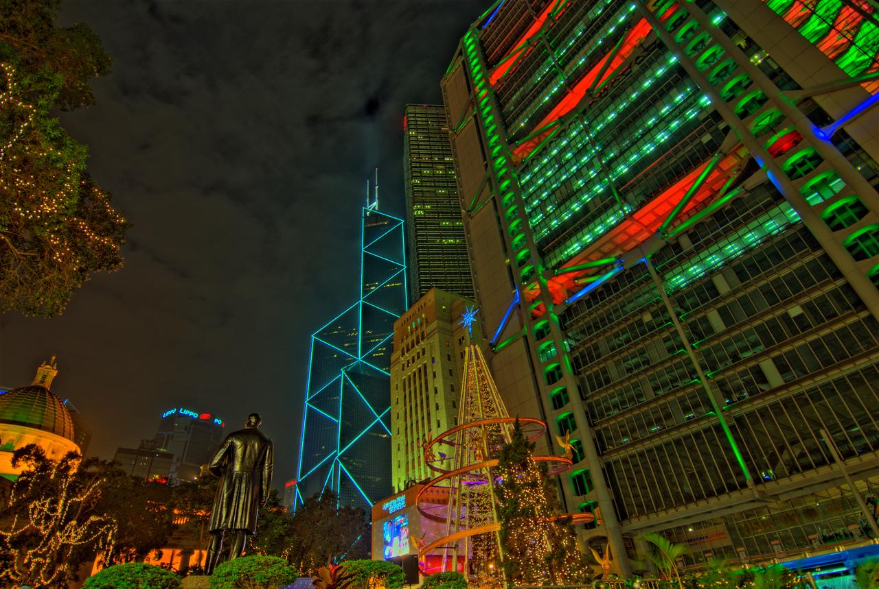 Beautiful Christmas lights in Hong Kong during night