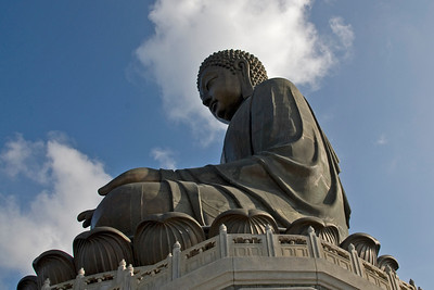 Shot of the Big Buddha statue from the side at Po Lin Temple