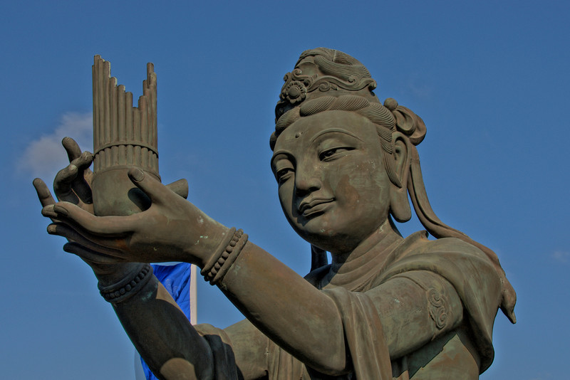 Closer look on the Big Buddha statue in Hong Kong