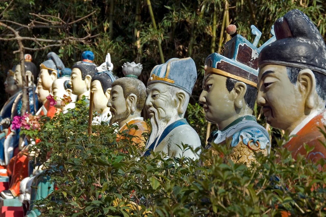 Colorful Buddhas display at 10,000 Buddha Temple in Hong Kong