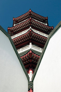 Shot of the pagoda between two walls in Po Lin Temple in Hong Kong