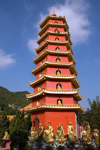 Towering pagoda inside the 10,000 Buddhas Temple in Hong Kong