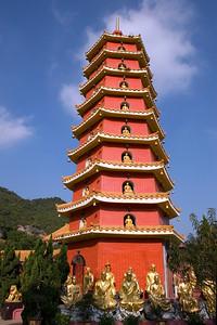 Towering pagoda inside the 10,000 Buddhas Temple in Hong Kong