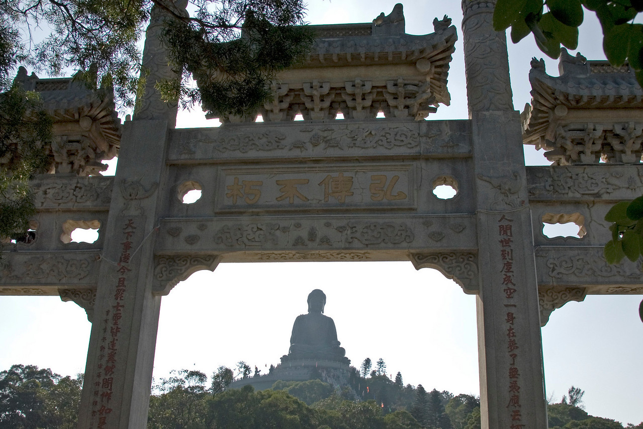 Shot of the Big Buddha at the entrance gate to the Po Lin Temple in Hong Kong