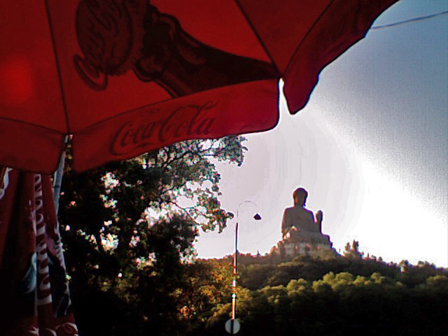 Shot of Big Buddha statue from afar at Po Lin Temple