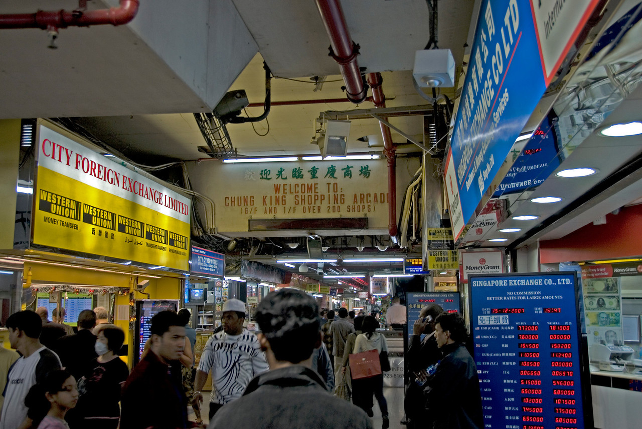 Heavy foot traffic inside Chungking Mansions in Kowloon, Hong Kong