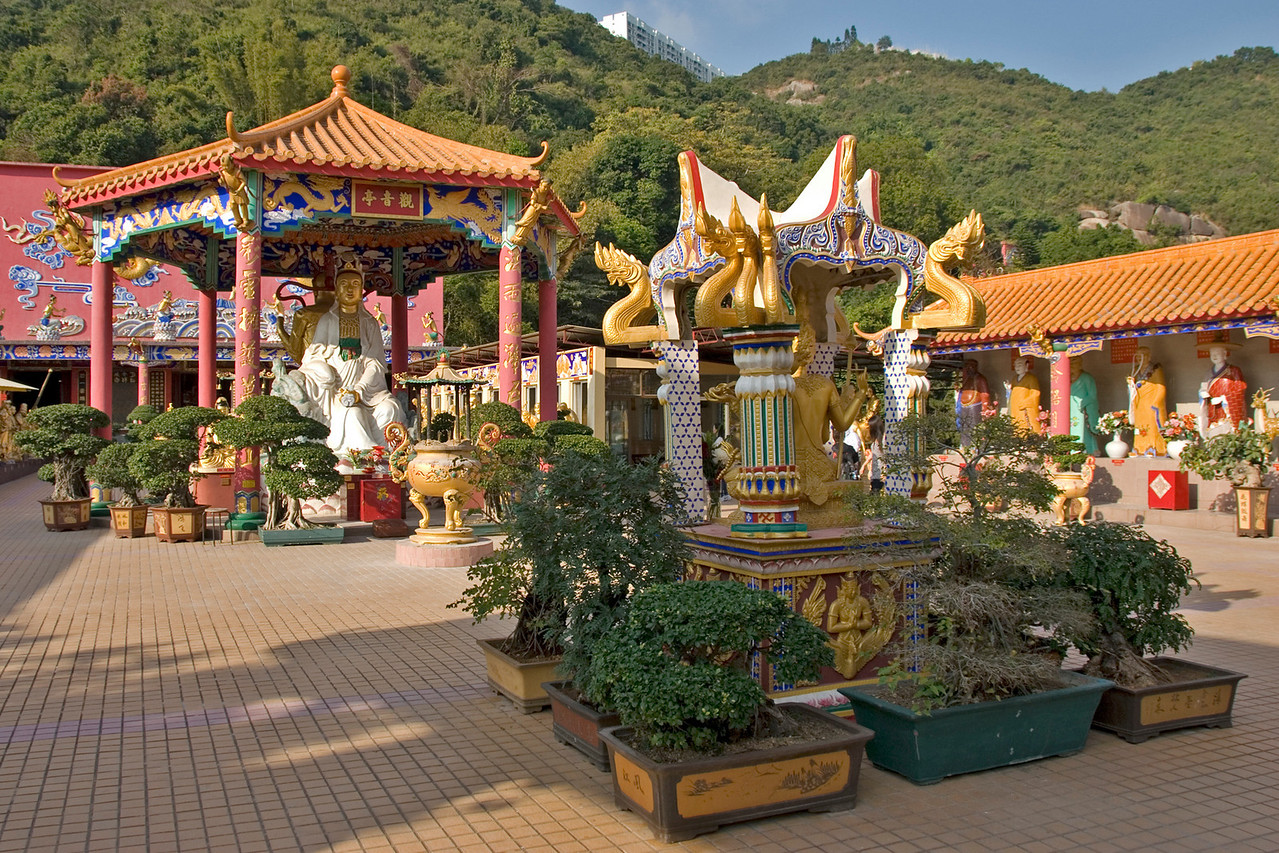 Beautiful Buddhist art display at a courtyard in 10,000 Buddha Temple in Hong Kong