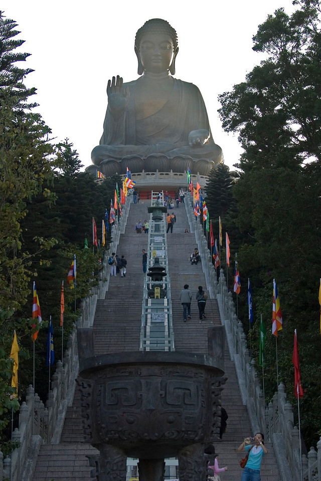 Looking up the Tian Tan Buddha from the end of stairwell at Po Lin Temple
