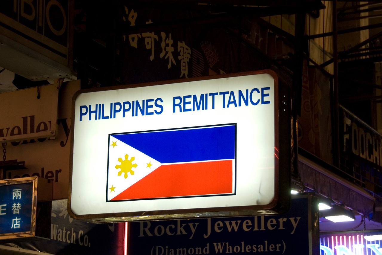 Philippine Remittance Sign in Chungking Mansions in Hong Kong