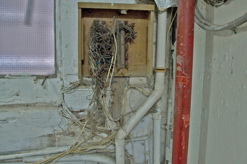Exposed wiring inside the Chungking Mansions building in Kowloon
