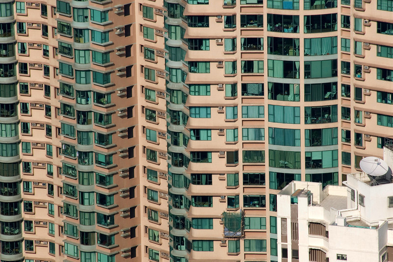 Shot of apartment building from Victoria Peak in Hong Kong
