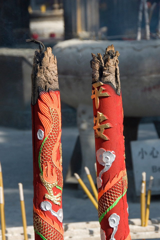Burned out incense sticks at Po Lin Temple in Hong Kong