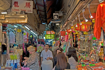 Souvenir shops in the Chungking Alley in Kowloon, Hong Kong