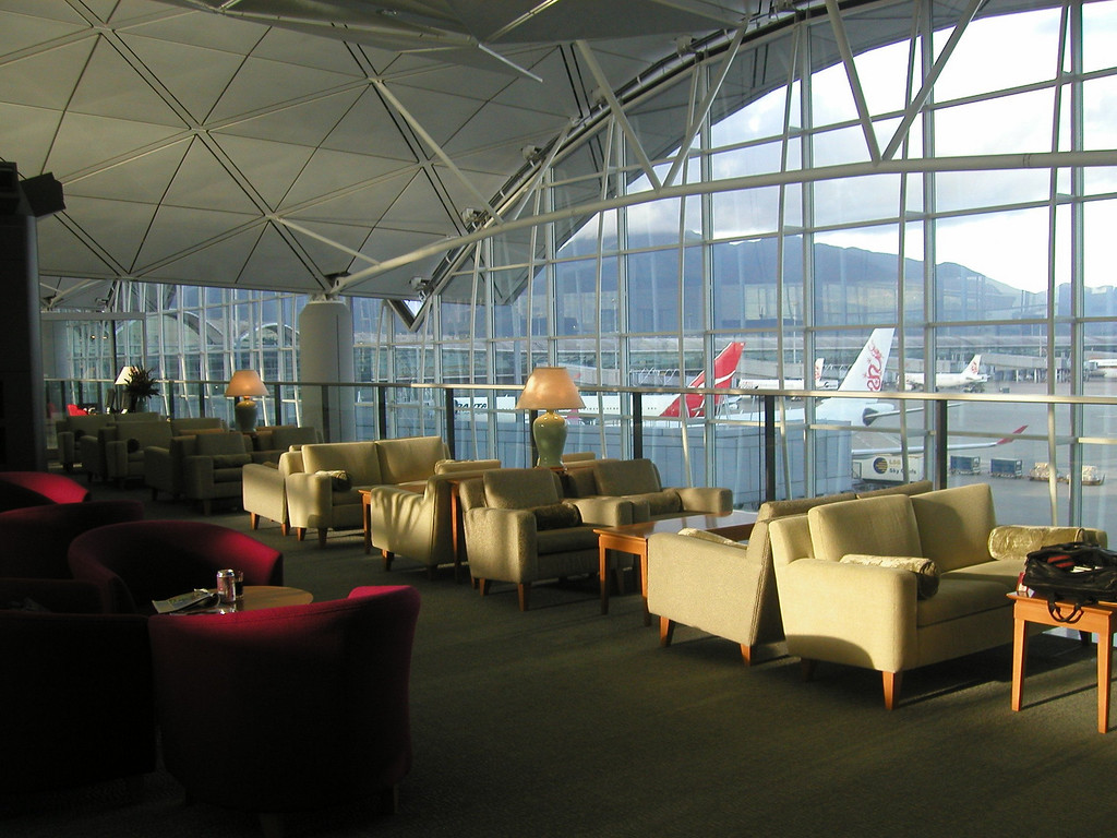 Hong Kong Airport on Lama Island, in  UA lounge (2002)
