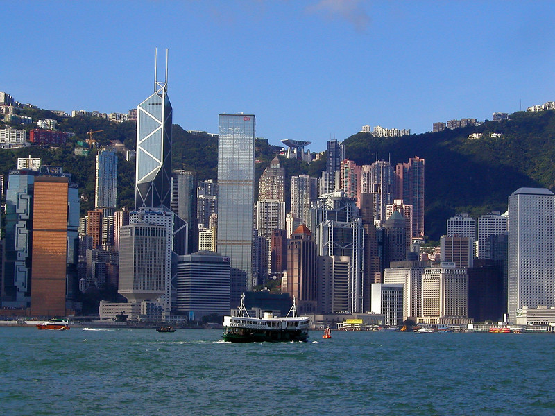 Hong Kong Island skyline from Kowloon and Star Ferry heading to Central - Aug 2002