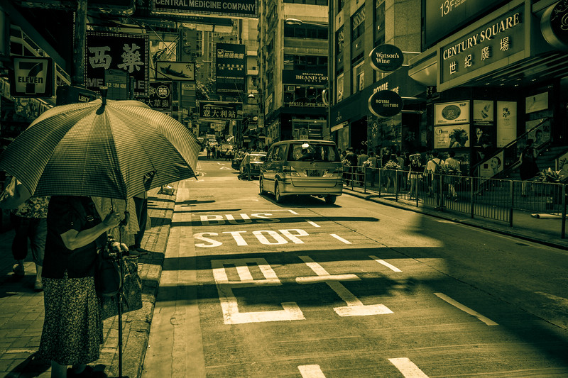 Typical busy HK street life scene.