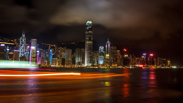 Hong Kong bay by night.