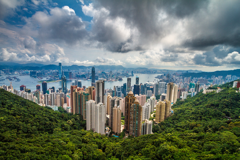 Legendary & breathtaking view over Hong Kong bay from Victoria Peak.