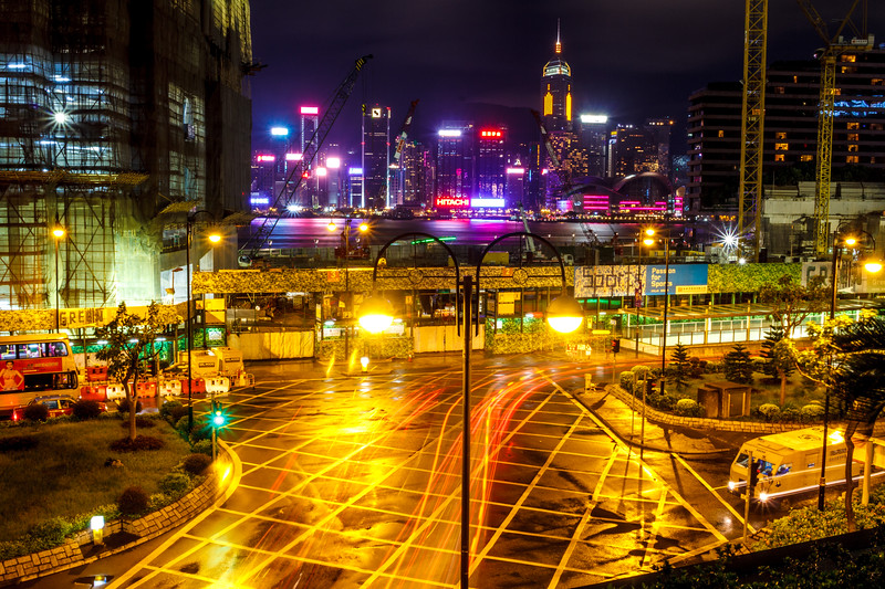 Colorful HK by night.