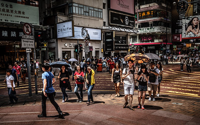 Colorful and joyful HK street life scene at Times Square.