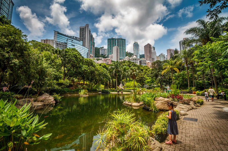 Life scene at the picturesque Hong Kong Park.
