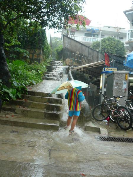 Enjoying the heavy rain, Lamma Island, Dragon Boat Festival, Hong Kong