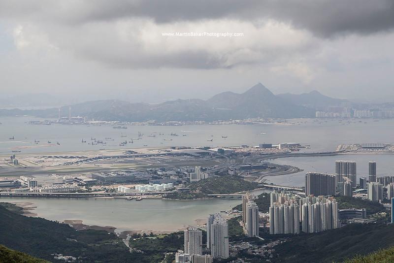 Hong Kong Chek Lap Kok Airport and Tai Mo Shan Mountain (New Territories), Lantau Island, Hong Kong, China.