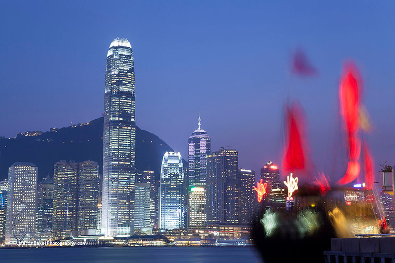 One International Finance Centre (view from Tsim Sha Tsui), Hong Kong Island, Hong Kong, China.
