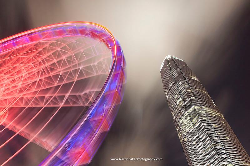 Hong Kong Observation Wheel and One International Finance Centre, Central, Hong Kong Island, Hong Kong, China.