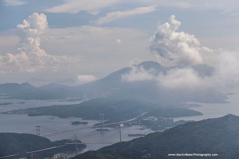 Lantau Island and Tsing Ma Bridge (view from Tai Mo Shan Country Park), Hong Kong, China.