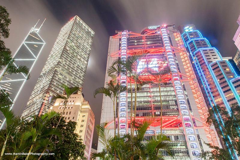 Bank of China Tower, Cheung Kong Centre and HSBC Building, Statue Square, Central, Hong Kong Island, Hong Kong, China.