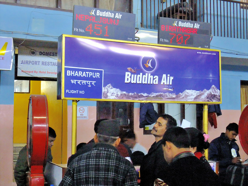 We are flying Buddha Air to Bharatpur on our way to Chitwan