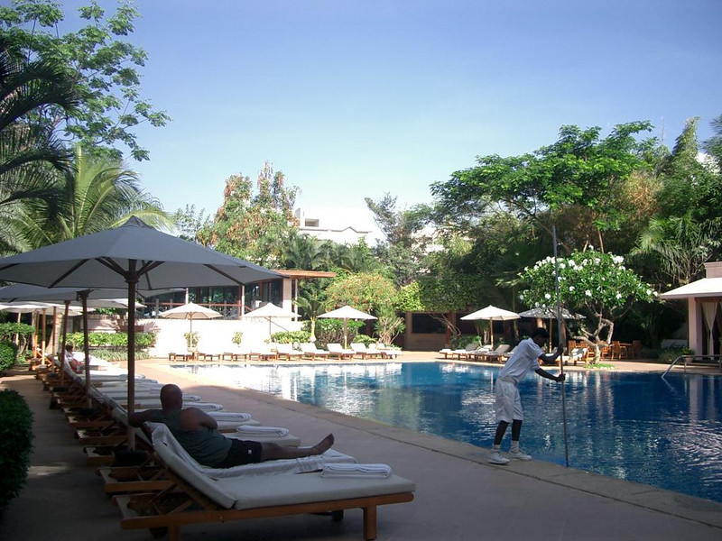 The pool at the Oberoi Hotel in Bangalore, India.