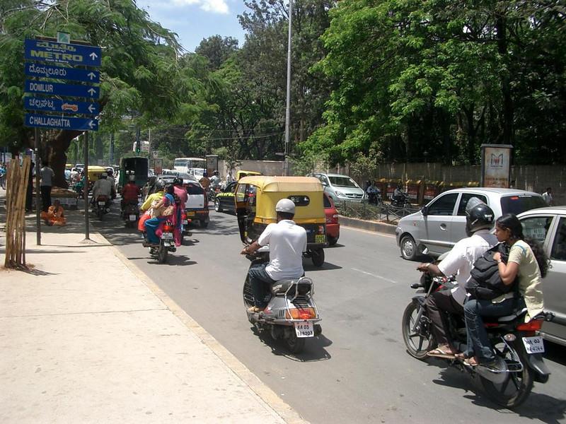 Traffic in Bangalore, India.