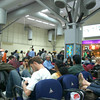 Waiting for a flight inside the (now) old airport in Bangalore.