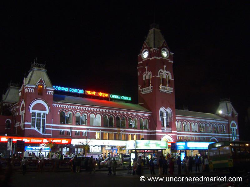 Chennai's Central Train Station at Night