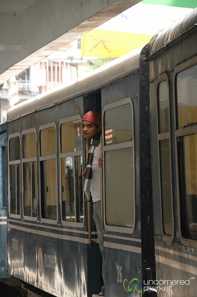 Peeking Out from the Train - Darjeeling, India