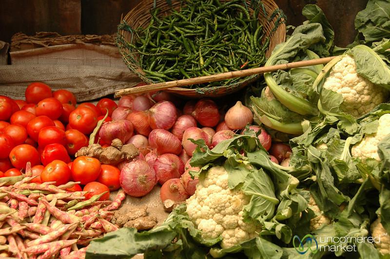 Selection of Veggies at the Market in Darjeeling, India