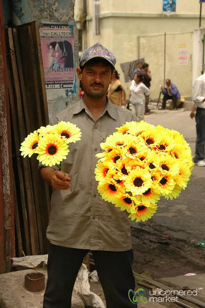 Selling Plastic Flowers at the Market - Darjeeling, India