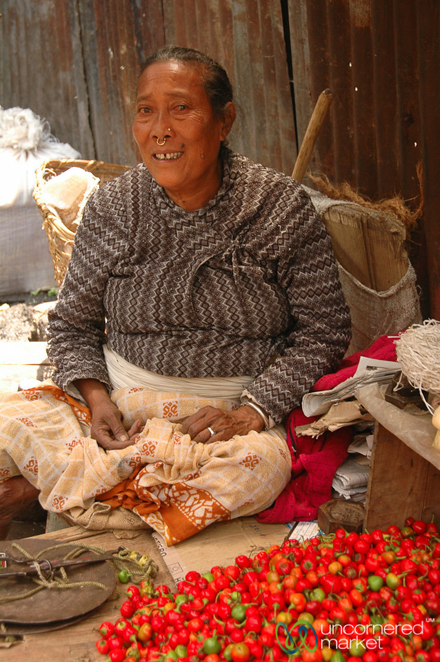 Selling Chili Peppers at the Market - Darjeeling, India