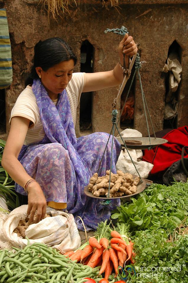 Carefully Weighing the Ginger - Darjeeling, India