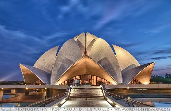 Bahai House of Worship At Dusk - Delhi, India