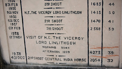 Permanent record of the number of animals killed by Lord Linlithgow's party at the Bharatpur Bird Sanctuary in one day on November 12th,1938