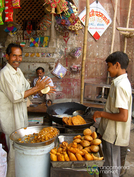 Street Food Stand at the Market in Bikaner, India