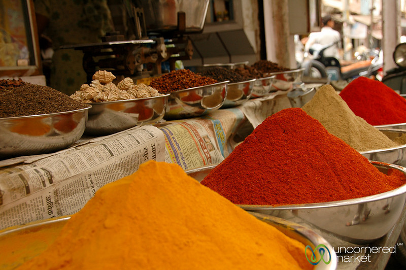 Piles of Colorful Spices at the Market in Udaipur, India