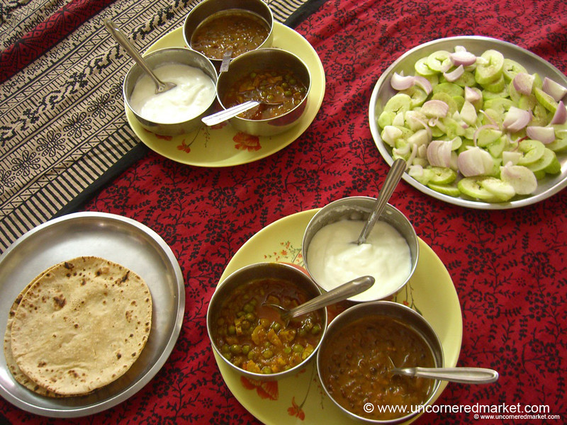 An Array of Home-Cooked Curries in Chandigarh, India