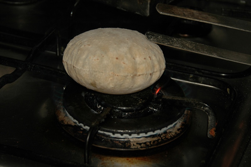 Chapati on the Fire - Chandigarh, India