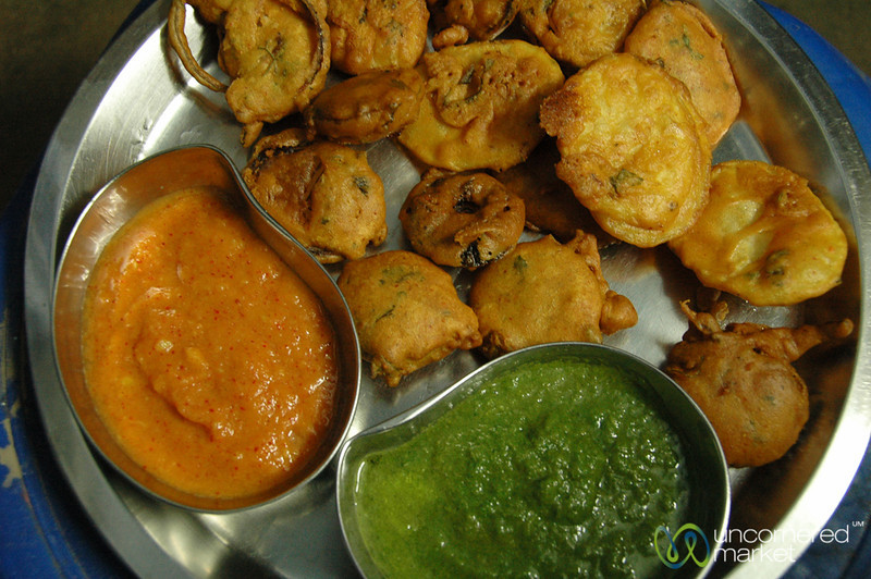 Fried Pakoras with Mint and Mango-Chili Dipping Sauce - Udaipur, India