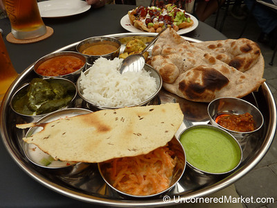 A Great Indian Thali for Lunch in Prague, Czech Republic